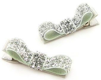 Silver Glitter Tuxedo Hair Clips, Glitter Hairbows, Sparkly, Glam, Baby Toddler Girls Women Holiday Hair Clips, One Pair Silver Clips