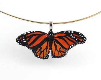 Monarch Butterfly Pendant or Charm, Polymer Clay, Hand Painted