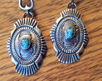 Sterling Silver and Turquoise Handmade Dangle Earrings-Signed by Linberg and Eva Billah