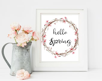 Hello Spring Print, Cherry Blossom Art, Home Printable, Rustic Home Decor, Printable Wall Art, Spring wreath, Four Seasons , Rustic Wall Art