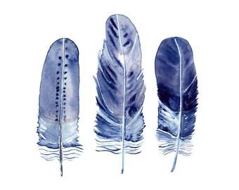Indigo Feather Print, Blue Feathers Wall Art, Bohemian Home Decor, Navy Blue Art Print, Boho Watercolour Painting