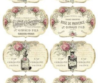 VinTagE FReNcH PerFuMe BoTTLe LaBeLs ShaBby DeCALs