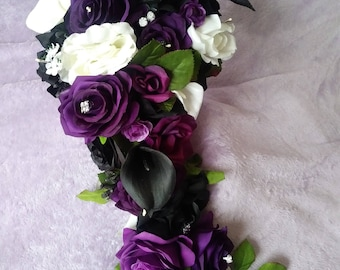 Purple .white and black cascading silk bouquet