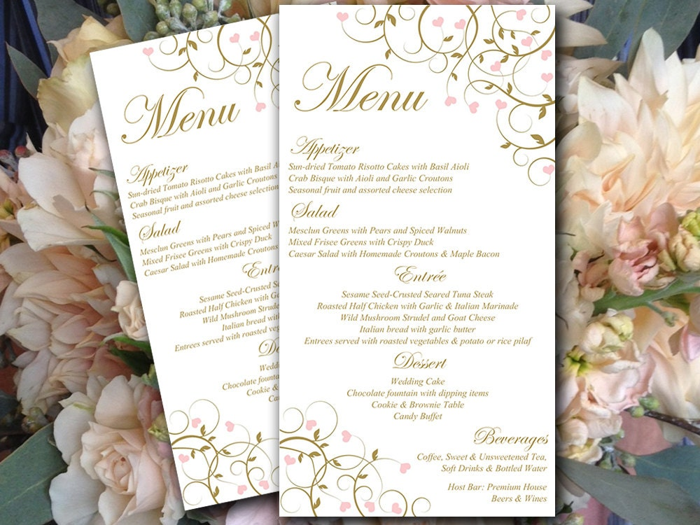 Heart wedding menu card template entree card printable zoom junglespirit Images