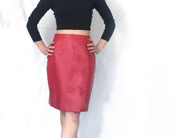 Hot 1980s Red Leather Mini Skirt