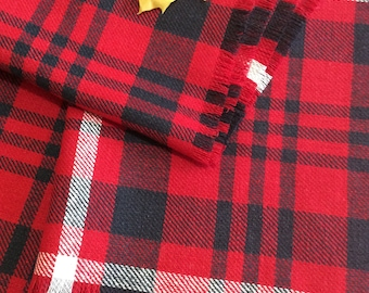 Red Blanket scarf Tartan plaid scarf  Linen scarf Plaid scarf Scottish scarf Red gift for wife Pure Linen gift