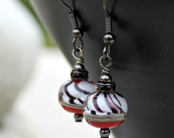 Black and Red Striped Lampwork Earrings, Handmade Glass