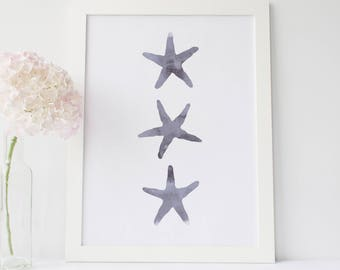 Starfish Print, Sea Star Art Printable, Coastal Wall Art, Gray Nursery Decor, Watercolor Print, Digital Download, Starfish Art Print