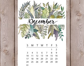 Watercolor Tropical Leaves Floral Calendar Monthly Journal Spread Print