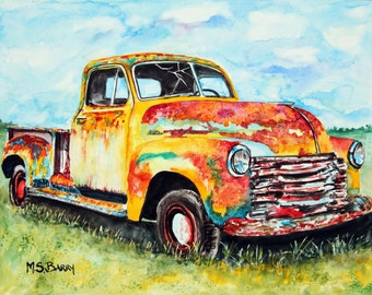 Rusty Old Truck. Watercolor print from an Original piece of artwork.