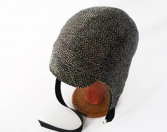Aviator Hat, Vegan Winter Hat, Charcoal Gray, Herringbone, Men's Hat, Women's Hat, Warm Hat, Cycling, Gift for Her, Retro Hat, Ear Flap Hat