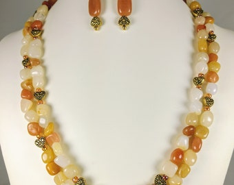 Heartland - amber waves of grain in multi-Agate and golden hearts