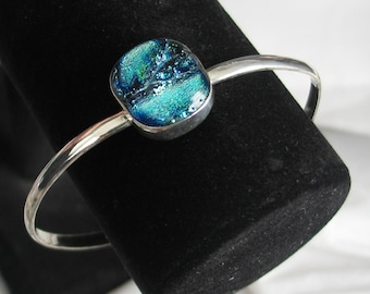 SALE Dichroic Blue Glass Bracelet in Sterling Silver