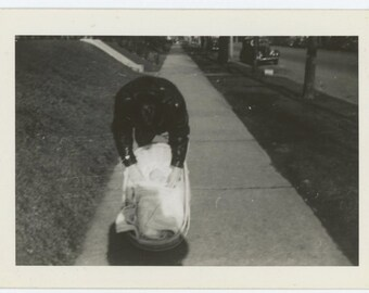 Vintage Snapshot Photo: Taking a Picture of Baby, 1940s-1950s (611519)
