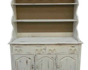 Shabby Painted Hutch, Mid Century Painted Hutch, Vintage White Hutch