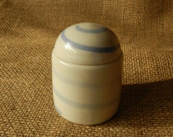 Small Porcelain Lidded Jar with Spiral Design