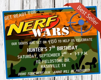 Nerf Birthday Invitation, Nerf Gun Party, dart gun bday invite, camo, camoflauge, nerf wars, digital invitation, printable invitation