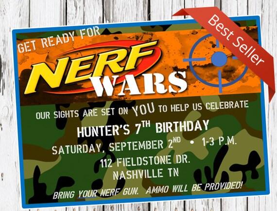 Nerf Birthday Invitation Nerf Gun Party Dart Gun Bday