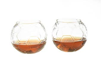 Whiskey Glass Soccer Ball Shaped Rocks Glass (Set of Two - Soccer Ball)