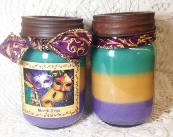 Mason Jar, Layered colors, Candles, Mardi Gras, 1 pint, citrus, grapefruit, strawberries, apples, pears, Moeggenborg Sugar Bush