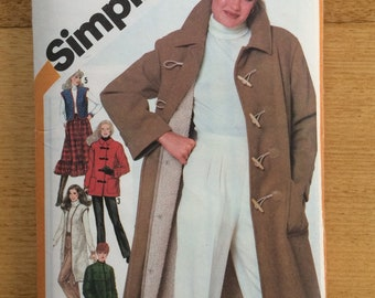 Simplicity sewing pattern 5285 Misses' coat quilted coat and vest size 12