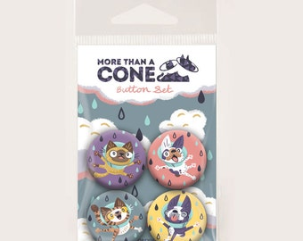 Dogs and Cats in Cones - Button 4 pack Set