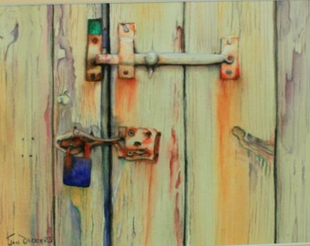 Old Door, original watercolour painting, inspired by a visit to the Cotswolds.  .
