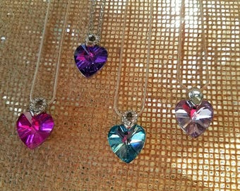 Silver crystal heart pendant necklaces heart necklaces heart jewelry