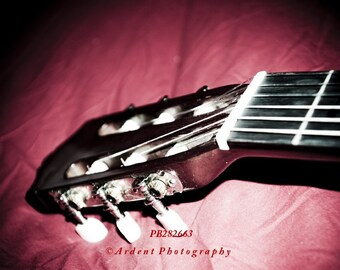 Noir Photography red background acoustic guitar head musician artist art photography  - At the End of the Night