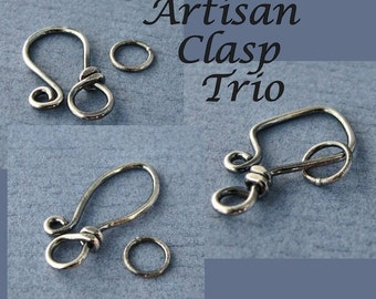 Antiqued Hook Clasps, Sterling Silver Handmade Artisan Trio Set, 18g