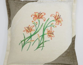 Chenille Cushion, Throw Pillow, with a Day Lily Spray embroidery design.