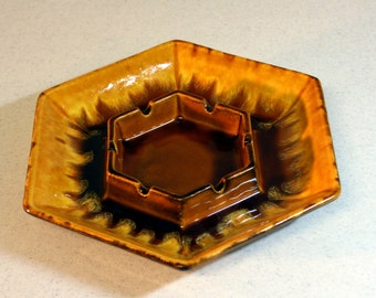Mod Haeger ashtray-rich mustard and ochre drip glaze ash tray-mid century home decor