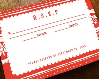 Printable RSVP Card - Response Card Download - Instant Download - RSVP Template - Response Card - Red Mexican Response Card - Folk Art PDF