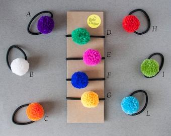 4 Pompon Hair Ties | Set of 4 Hair Ties, Hair Ties, Ponytail Holder, Pompon Hair Tie, Hair Accessories, Pop Hair Accessories