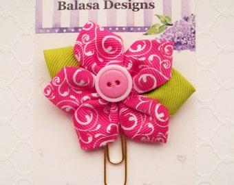 Shocking Pink Swirl Ribbon Flower Planner Clip, Bookmark, Planner Accessory, Paper Clip