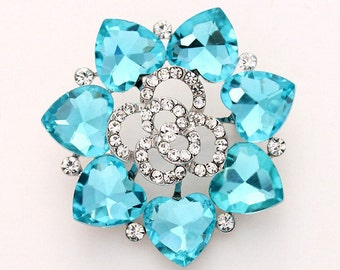 Rhinestone Malibu Blue Brooch, Wedding Brooch, Aqua Blue Brooches, Bridal Brooch, Bridesmaid Dress Sash Brooch, Cake Brooch, Blue Broaches
