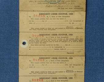 Winchester NH * Combination Hunting and Fishing Permit * 1925 * With Tags still attached