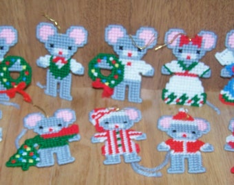 Christmas Mouse Ornaments ~ Assortment of Ten ~ Needlepoint ~ 4 inch Tall ~ Trim-A-Tree