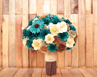 Wooden Flowers Bouquet- Teal and Brown Rustic  Wooden Bouquet for Wedding and Home Decor Centerpiece