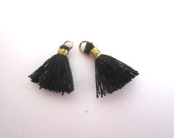 Set of 2 mini black tassel