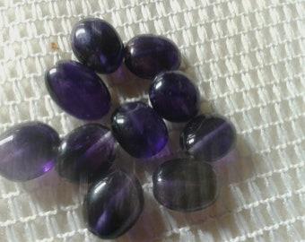 10 Amethyst Gemstones Oval 10-12 x 8 mm Center drilled chain-making crafts