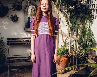Purple Floral 60s Dress. Bohemian Dress. 1960s 1970s Hippie Dress. Long Dress. Boho Maxi Dress. Festival Clothing. 60s Maxi Dress.