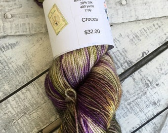 Variegated Hand Dyed Yarn -Crocuses from our Secret Garden Collection, Fingering Weight,80/20 Superwash Merino-Silk Blend,Toad Hollow yarns