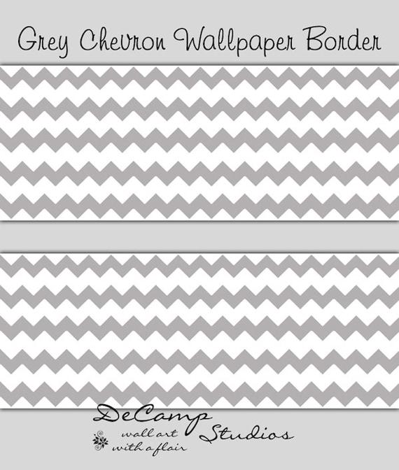 GREY GRAY CHEVRON Wallpaper Border Wall Decal Baby Girl Boy