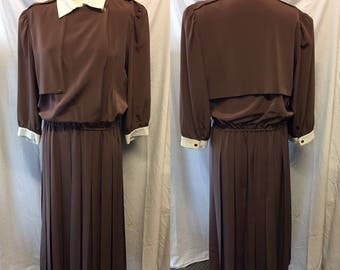 Darling chocolate brown day dress with military bodice pleated skirt medium