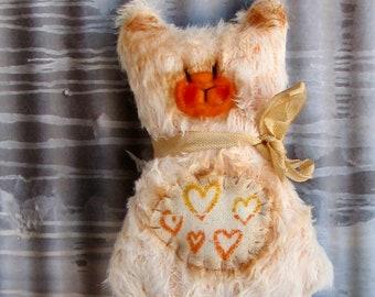 Handmade Mini Flat Teddy Bear Softie Plush by Woollybuttbears