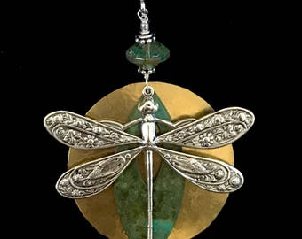 Dragonfly pendant, large dragonfly pendant, dragonfly necklace, dragonfly jewelry, Silver dragonfly, wire wrapped, hammered brass pendant