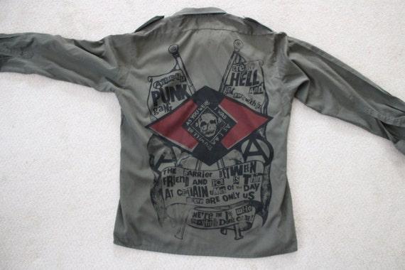 Vintage Military Shirt Khaki Green Longsleeve Anarchist Punk Gang - Army Collar Shirt 1 per cent-skull - Mens Medium Large XL ot6KDiUqX