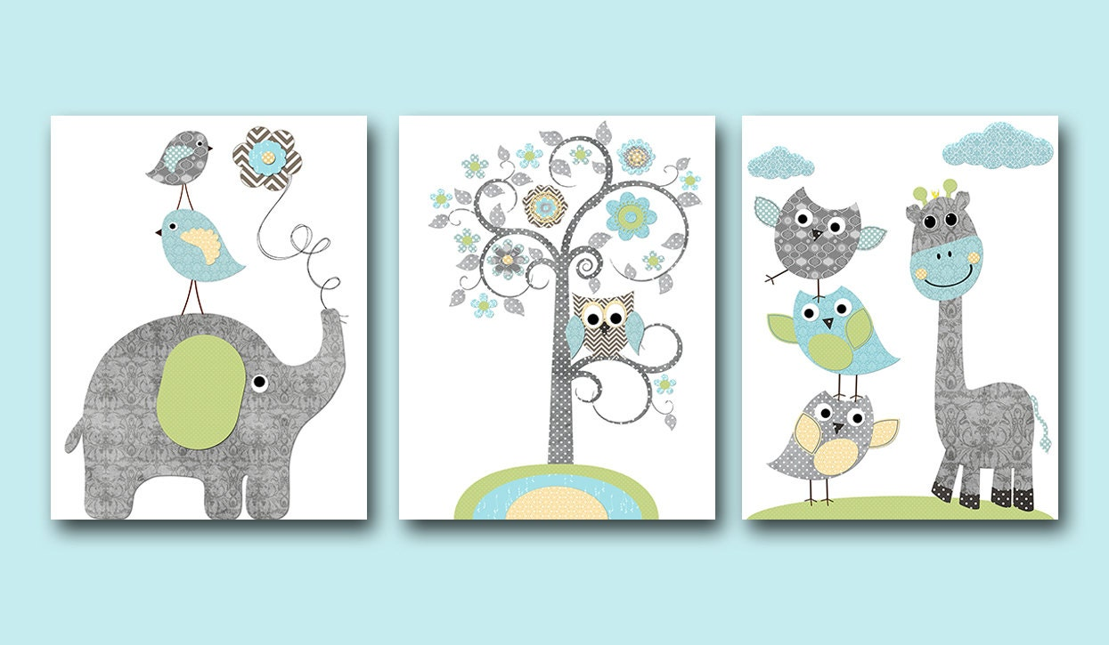 Blue Grey Green Yellow Owl Elephant Giraffe Decor Canvas