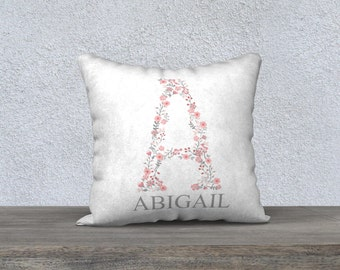 Personalized Initial Pillow Cover, Nursery Pillow, Monogram, Baby Gift, Floral Initial, Baby Girl Nursery, Boho Nursery, Floral Baby
